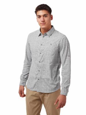CMS641 Craghoppers NosiLife Lester Shirt - Cloud Grey - Front