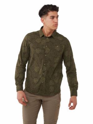 CMS641 Craghoppers NosiLife Lester Shirt - Woodland Green Print - Front