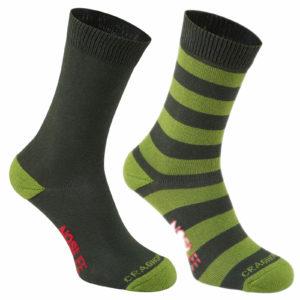 Craghoppers NosiLife Mens Travel Twin Pack Socks - Dark Khaki/Lime Stripe