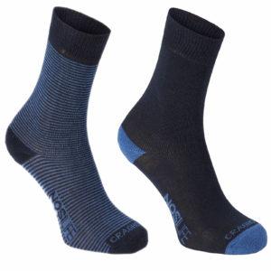 Craghoppers NosiLife Mens Travel Twin Pack Socks - Dark Navy/Soft Denim Stripe