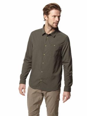 CMS598 Craghoppers Mens Nuoro Shirt - Dark Khaki - Front