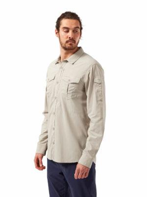 CMS605 Craghoppers NosiLife Mens Adventure Shirt - Desert Sand - Front