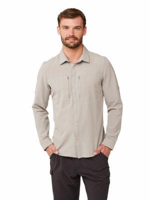 CMS603 Craghoppers Mens Pro Stretch Shirt - Parchment - Front