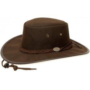 Barmah Unisex Oil Skin Hat - Dark Brown