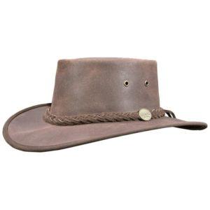 Barmah Unisex Squashy Oiled Leather Hat - Dark Brown