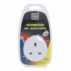 Design Go Travel UK-Australia/China USB Adaptor (627)