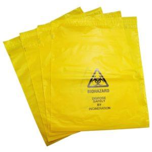 Large Self Seal Yellow Biohazard Disposal Bags