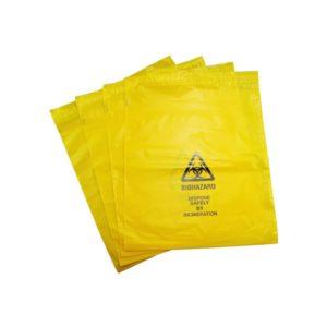 Small Self Seal Yellow Biohazard Disposal Bags