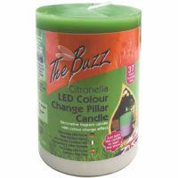 The Buzz Citronella Colour Change Pillar Candle