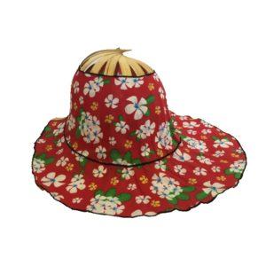 Flaming Frangipani Folding Fan Hat