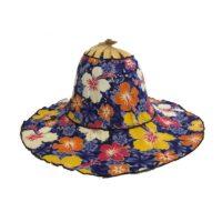 Ocean Hibiscus Folding Fan Hat