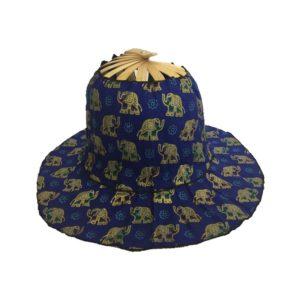 Royal Blue Elephants Folding Fan Hat