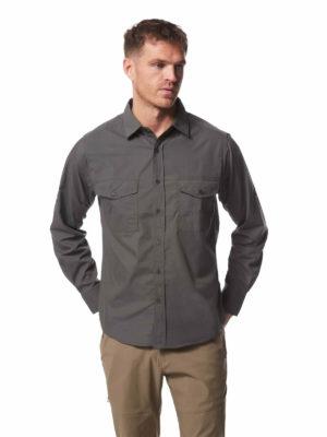 CMS338 Craghoppers NosiDefence Mens Kiwi Shirt - Dark Grey - Front