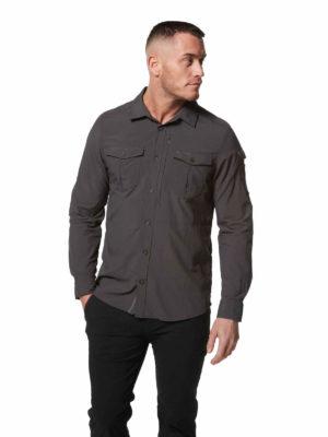 CMS605 Craghoppers NosiLife Mens Adventure Shirt - Black Pepper - Front