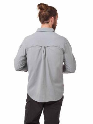 CMS605 Craghoppers NosiLife Mens Adventure Shirt - Cloud Grey - Back