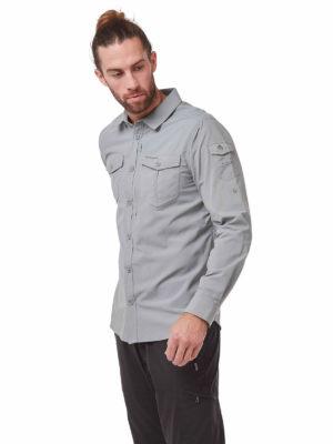 CMS605 Craghoppers NosiLife Mens Adventure Shirt - Cloud Grey - Front