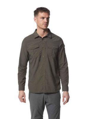 CMS605 Craghoppers NosiLife Mens Adventure Shirt - Dark Khaki - Front