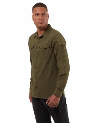CMS605 Craghoppers NosiLife Mens Adventure Shirt - Dark Moss - Front