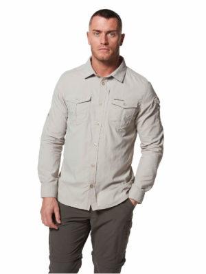 CMS605 Craghoppers NosiLife Mens Adventure Shirt - Parchment - Front
