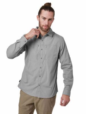 CMS612 Craghoppers NosiDefence Kiwi Boulder Shirt Cloud Grey Front