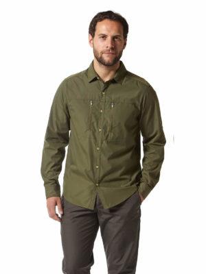 CMS612 Craghoppers NosiDefence Kiwi Boulder Shirt Dark Khaki Front