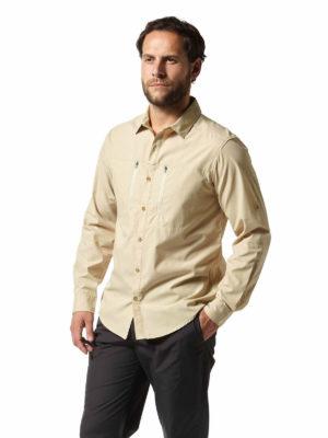 CMS612 Craghoppers NosiDefence Kiwi Boulder Shirt Oatmeal Front