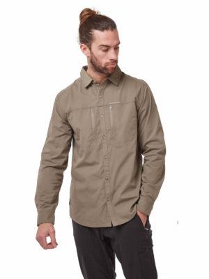 CMS612 Craghoppers NosiDefence Kiwi Boulder Shirt Pebble Front