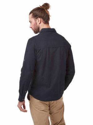 CMS626 Craghoppers Kiwi Linen Shirt - Dark Navy - Back
