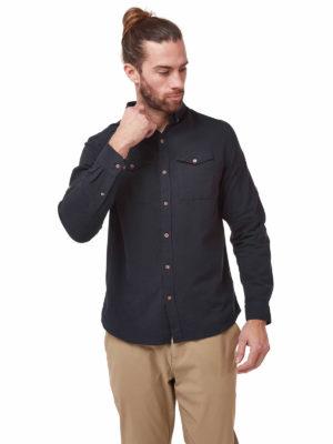 CMS626 Craghoppers Kiwi Linen Shirt - Dark Navy - Front