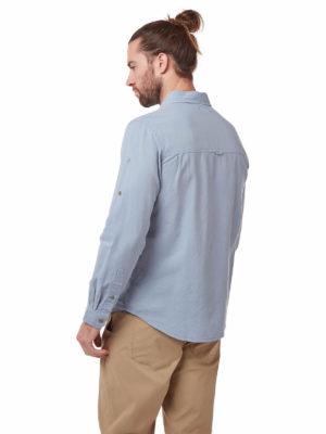 CMS626 Craghoppers Kiwi Linen Shirt - Fogle Blue - Back