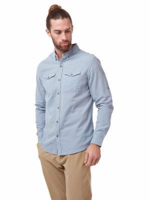 CMS626 Craghoppers Kiwi Linen Shirt - Fogle Blue - Front