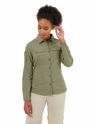 CWS482 Craghoppers NosiLife Adventure Shirt - Soft Moss - Front