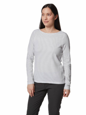 CWT1253 Craghoppers NosiLife Erin Top - Grey Marl Stripe - Front