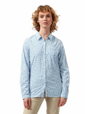 CWS504 Craghoppers NosiLife Fara Shirt - Mediterranean Blue - Front