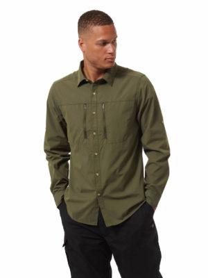 CMS702 Craghoppers NosiDefence Kiwi Boulder Shirt - Dark Khaki - Front