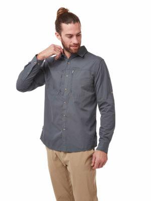 CMS702 Craghoppers NosiDefence Kiwi Boulder Shirt - Ombre Blue - Front