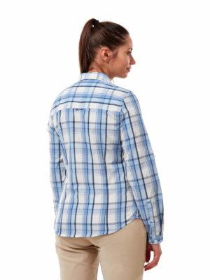 CWS511 Craghoppers NosiDefence Kiwi Shirt - Harbour Blue Check - Back